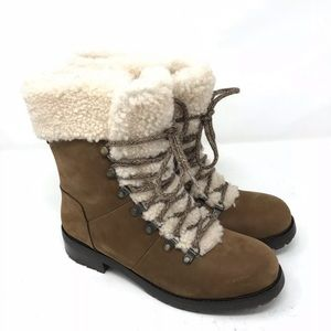 UGG Boots Fraser Leather Hiking Lace Up Shearling